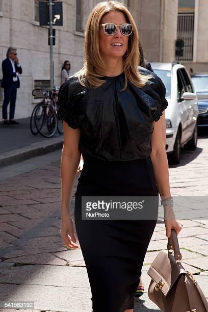 Street Style Woman walks before Salvatore Ferragamo show at Milan Men's Fashion Week in Milan on 19 June 2016