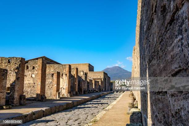 street surrounded by ruins in the city of pompeii italy. the view the vulcano mount vesuvius in the background - finn bjurvoll stock photos and pictures