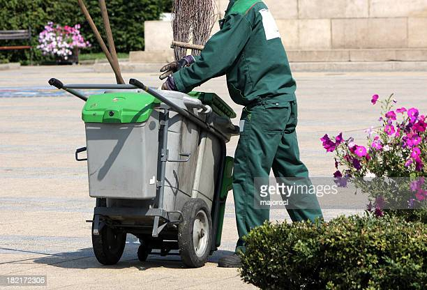 street sweeper is working - street sweeper stock pictures, royalty-free photos & images