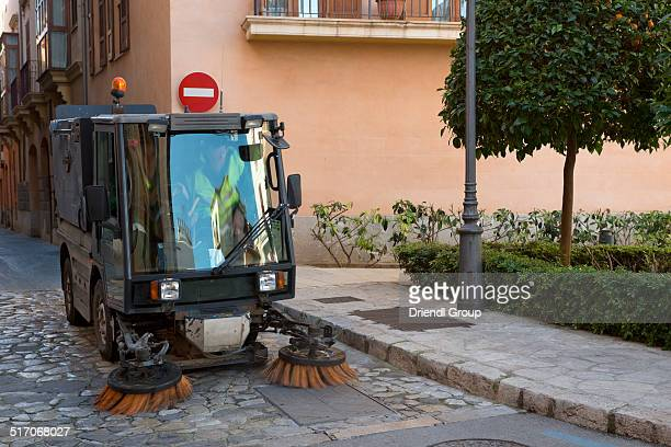 Street sweeping vehicle in Temple Square, Palma.