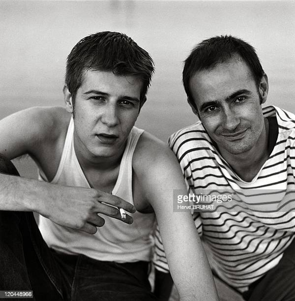 Street Theater, Sebastien Vion and Frederic Bourgeon in France in 1994 - Les Piou-Piou street theatre company, Chalon-sur-Saone. Sebastien Vion and...