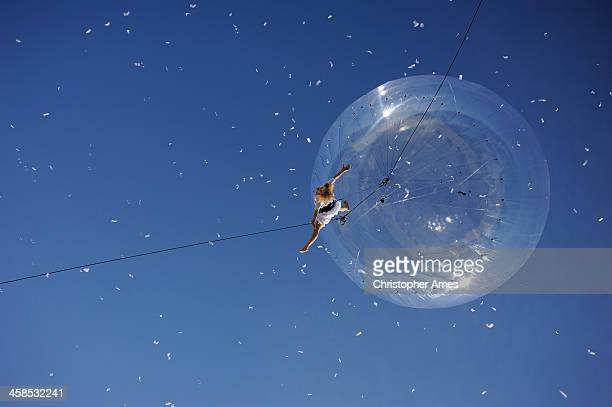 street theatre aerial ballet - antibes stock photos and pictures