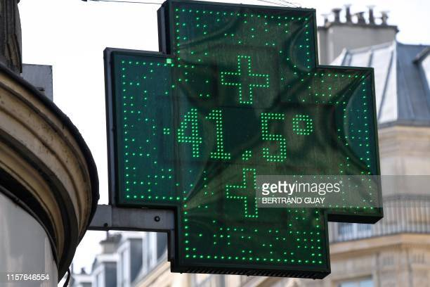 A street thermometer shows a temperature of 415 degrees Celsius on July 25 2019 in Paris as a new heatwave hits the French capital After alltime...