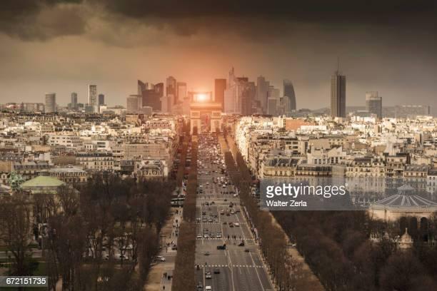 Street to Arc de Triomphe, Paris, Ile-de-France, France,