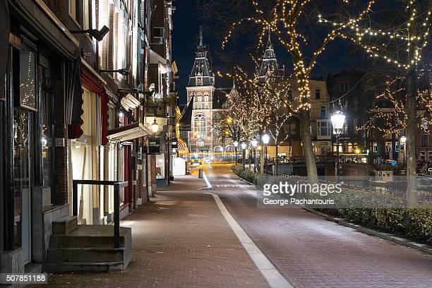 Street to Rijksmuseum in Amsterdam