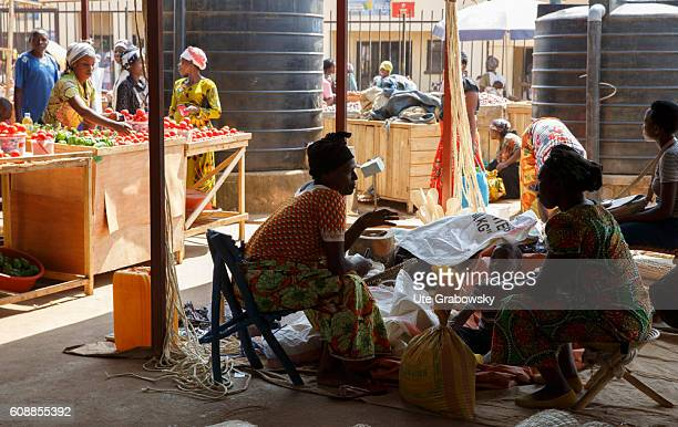 Street traders in a market hall on August 11 2016 in Kigali Rwanda