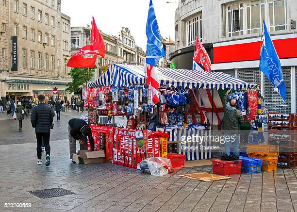 street traders liverpool - liverpool v everton stock pictures, royalty-free photos & images