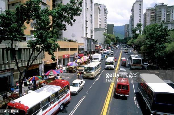 Street traffic in downtown Caracas, Venezuela