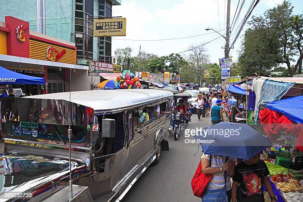 street trafic bulacan phillippines - jeepney stock pictures, royalty-free photos & images