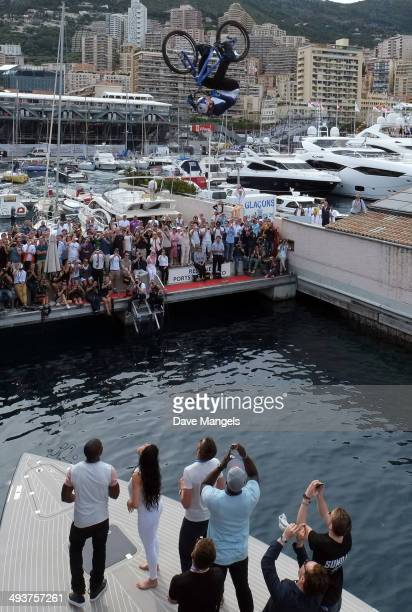 Street trials rider Danny MacAskill front flips off of the Red Bull Energy Station during the Monaco Formula One Grand Prix at Circuit de Monaco on...