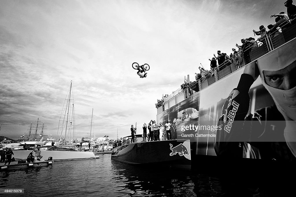 Street trials rider Danny MacAskill front flips off of the Red Bull Energy Station during the Monaco Formula One Grand Prix at Circuit de Monaco on May 25, 2014 in Monte-Carlo, Monaco.