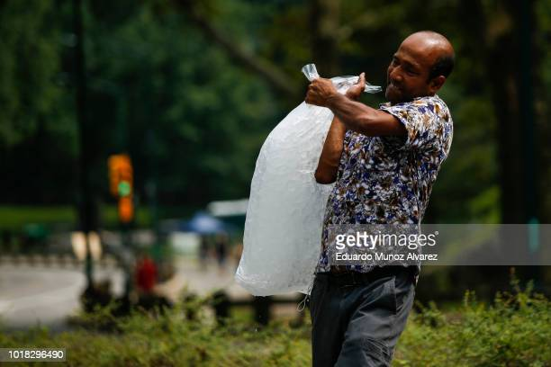 A street vendor carries ice for customers during a warm day at Central Park on August 17 2018 in New York City Severe thunderstorms and even an...