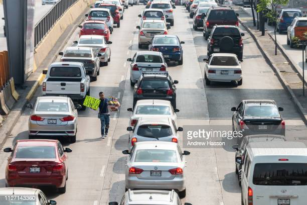 Street vendor in a traffic jam on January 18 2019 in Mexico CityMexico