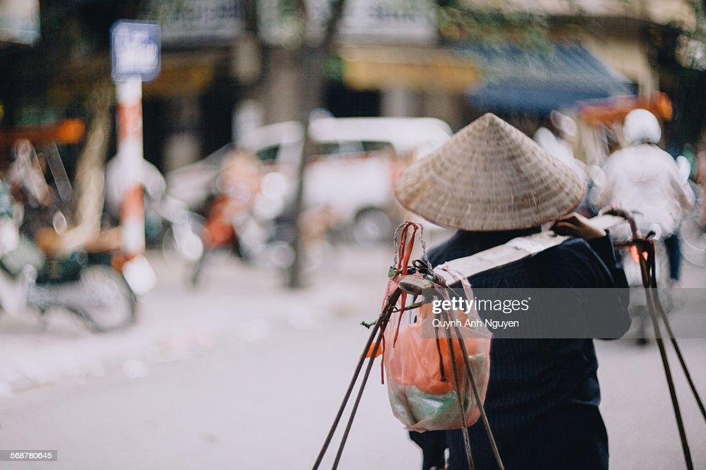 Street vendor in Hanoi, Veitnam : Stock Photo