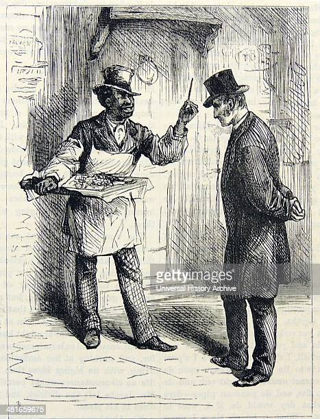 Street vendor of cough sweets and a 'Sneezing stick'' which was supposed to prevent colds Engraving London 1872