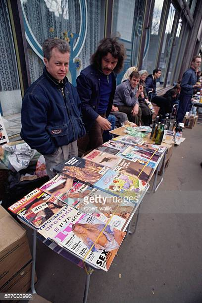 Street vendor selling books and magazines including Penthouse in Moscow