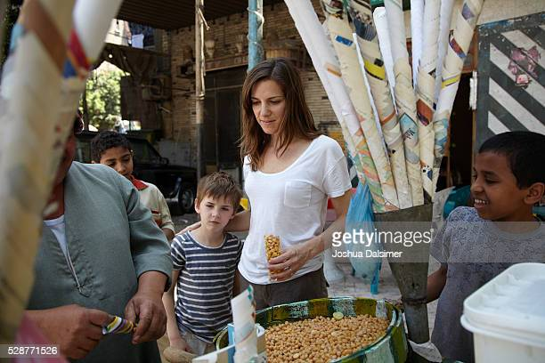 Street vendor selling nuts on the streets of Cairo Egypt.