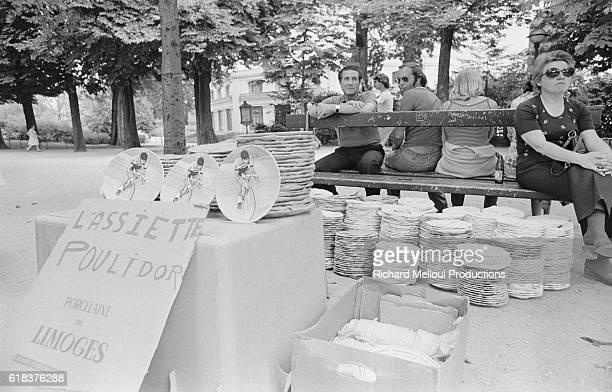 Street Vendor Sells 1975 Tour de France Souvenirs and Poulidor Plates