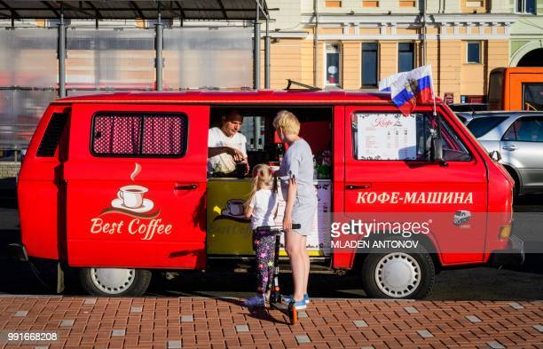 A street vendor sells espresso machine made coffee on a street in the center of Nizhny Novgorod on July 4 2018 Nizhny Novgorod will host the...