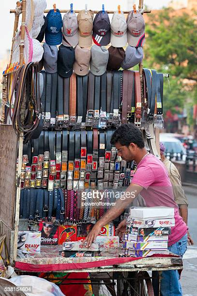 Street vendor setting up his stall in Jaipur, India