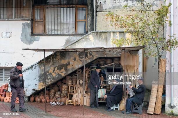 street vendor under a staircase ,bergama - emreturanphoto bildbanksfoton och bilder