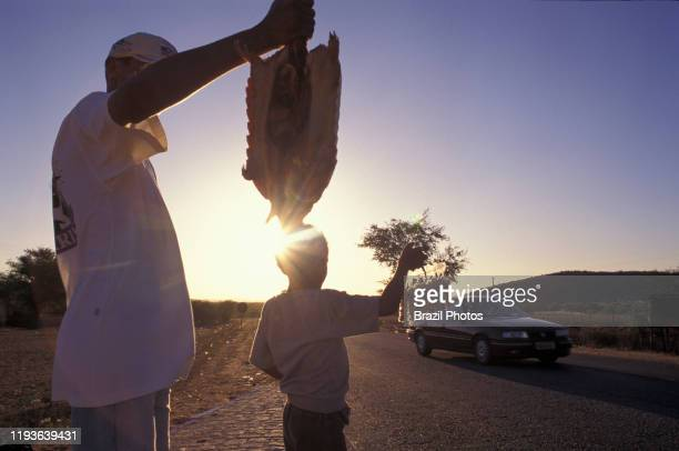 Street vendors - Family sells armadillo and peanuts to drivers at roadside - informal economy.