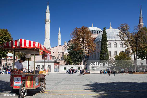 Street vendors in front of Hagia Sophia