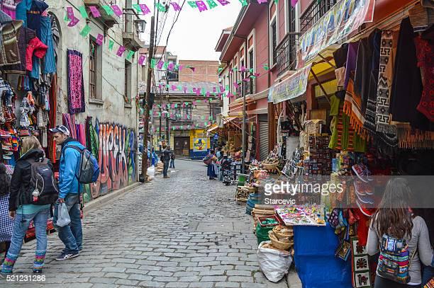 Vendeurs de rue de La Paz, Bolivie