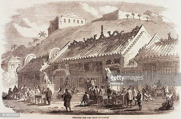 Street vendors outside a Josshouse at Canton China 1858