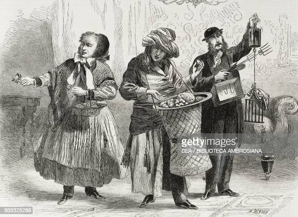 Street vendors panel of a charades game illustration from the magazine The Illustrated London News volume XLV December 24 1864