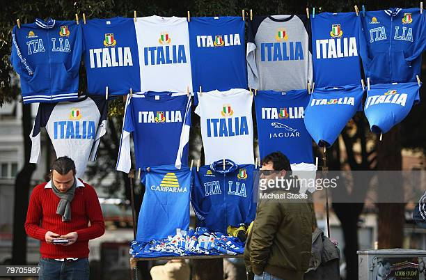 Street vendors sell merchandise outside of the ground during the RBS Six Nations Championship match between Italy and England at the Stadio Flaminio...