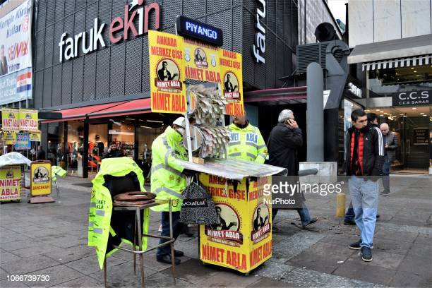 Street vendors sell New Year's lottery tickets in the Kizilay district of Ankara Turkey on November 30 2018 This year's lottery raffle in Turkey will...