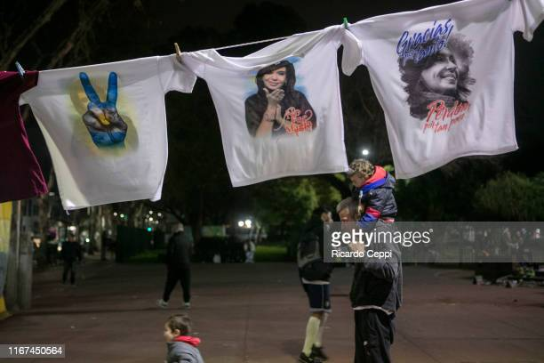 Street vendors sell Peronist party merchandising around the Bunker of Frente the Todos during the Simultaneous and Mandatory Open Primaries on August...