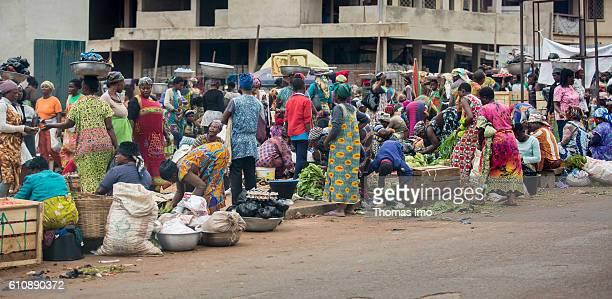 Street vendors sell vegetables at a market in Kumasi on September 06 2016 in Kumasi Ghana