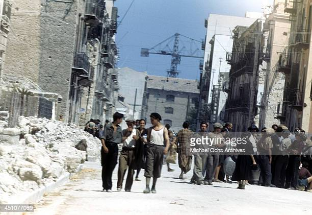 A street view after the Allied Forces invasion of Sicilycalled Operation Husky during the World War II in Palermo Sicily Italy
