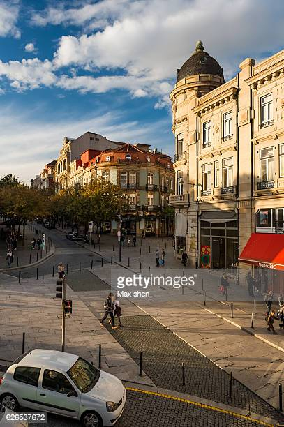 Street view at the Liberdade Square in Porto City