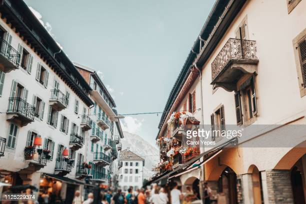 street view in chamonix town, french alps, france - chamonix stock pictures, royalty-free photos & images
