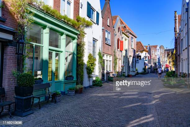 street view in deventer, overijssel, netherlands during a beautiful springtime day - deventer stock photos and pictures