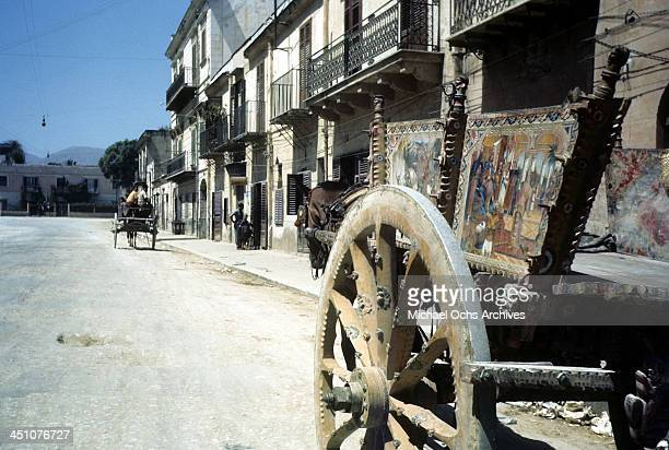 A street view in Palermo after the Allied Force invasion of Sicily called Operation Husky during the World War II in Palermo Sicily Italy