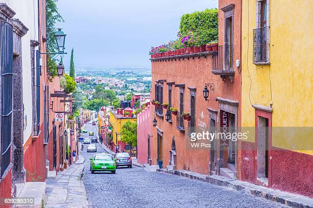 Street view in San Miguel de AllendeMexicok The historic city San Miguel de Allende is UNESCO World Heritage Site since 2008