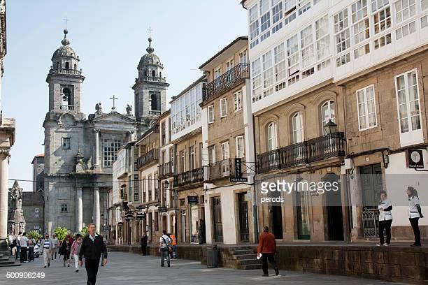 street view in santiago de compostela. - santiago de compostela stock pictures, royalty-free photos & images