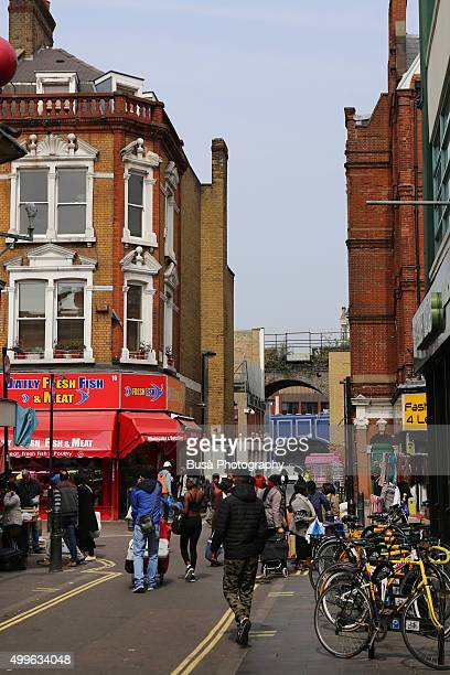 street view near brixton market, london, uk - brixton stock pictures, royalty-free photos & images