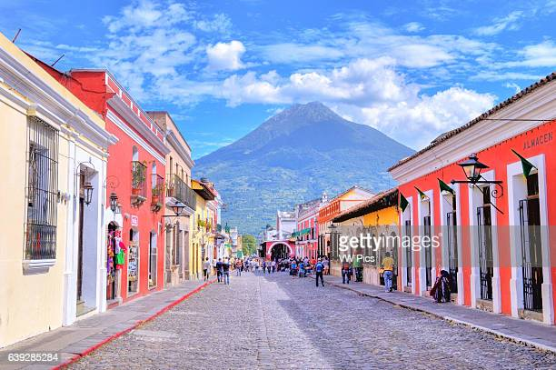 Street view of Antigua Guatemala The historic city Antigua is UNESCO World Heritage Site since 1979