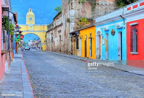 Street view of Antigua Guatemala The historic city Antigua is UNESCO World Heritage Site since 1979