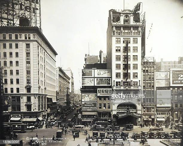 Street view of Broadway at the inersection with 47th Street New York early 1920 The tall building al left is BF Keith's Vaudeville at 1564 Broadway