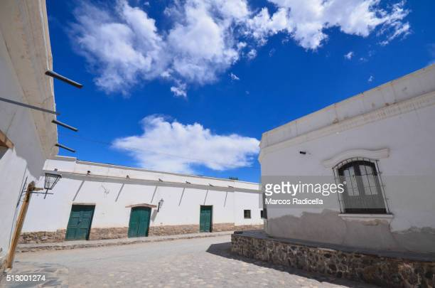 street view of cachi, salta province, argentina. - radicella stock pictures, royalty-free photos & images