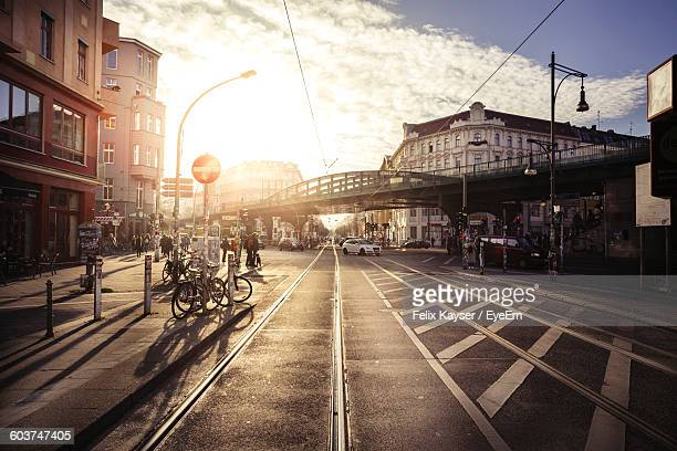 street view of city against sky - berlin stock pictures, royalty-free photos & images