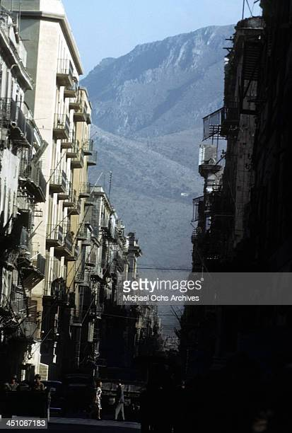 A street view of downtown after Allied forces won the invasion of Sicily called Operation Husky during the World War II in Palermo Sicily Italy