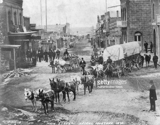 A street view of main street in Helena Montana Circa 1870