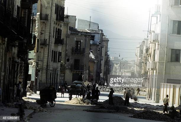 A street view of Palermo after the Allied forces won the invasion of Sicily called Operation Husky during the World War II in Palermo Sicily Italy